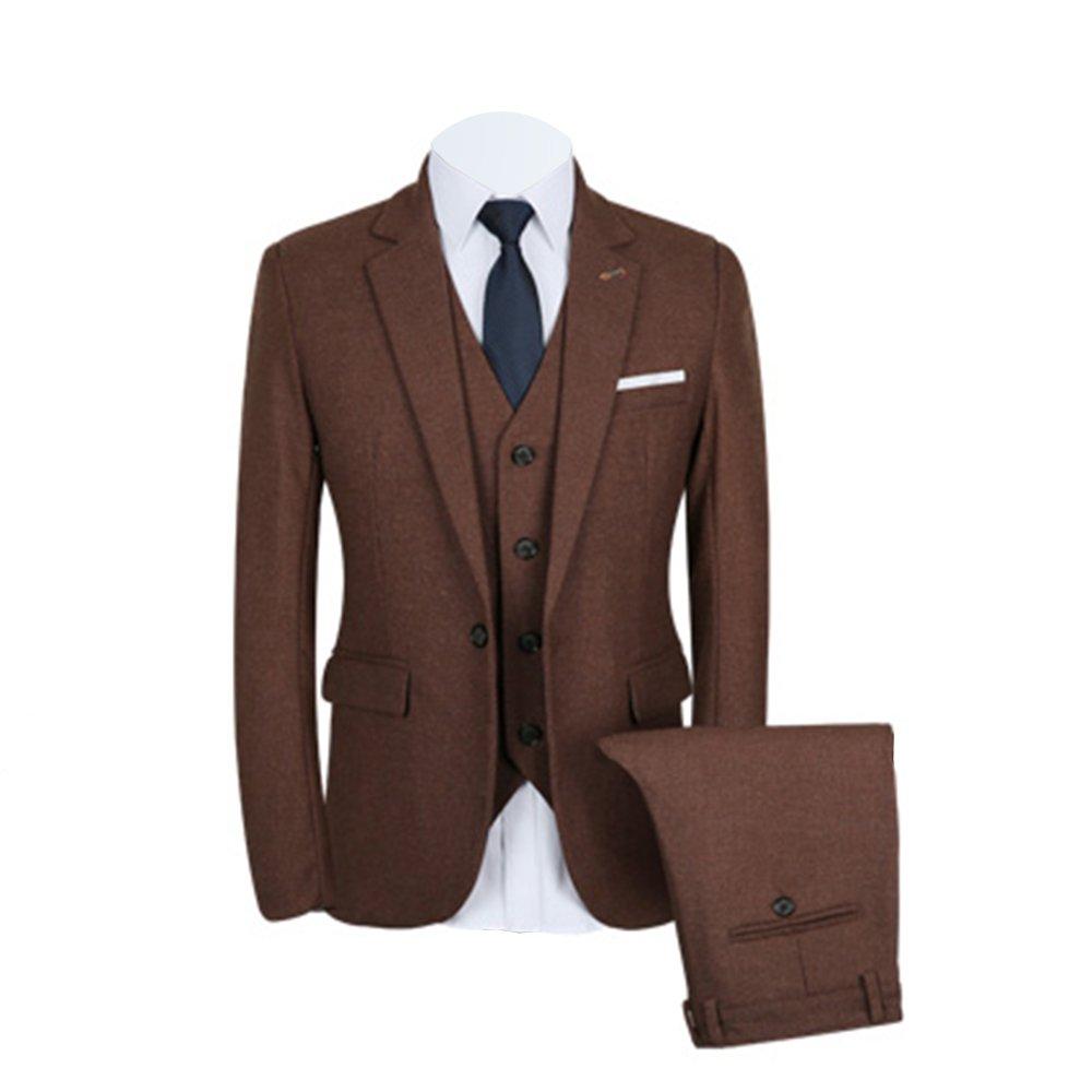 GOMY メンズスーツ 大きいサイズ 上下3点セント カジュアル 春/夏/秋/冬全シーズン 結婚式 一つボタン S~4XL グレー ブラウン B07545VS4S XX-Large|ブラウン ブラウン XX-Large