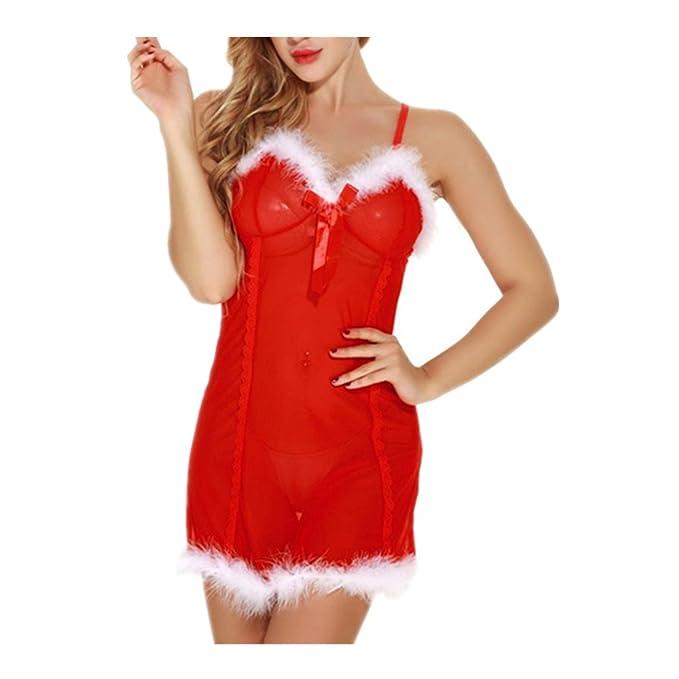 ASHOP conjuntos de lencería mujer Ropa interior de Navidad roja S-XXL (rojo,