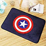 Blue Red Captain America Logo Area Rug Movie Superhero Captain Shield Print Doormats for Kids Room Avengers Super Hero Printed Floor Mat Cartoon Design Bathroom Carpets Soft Flannel Anti-Slip Backing