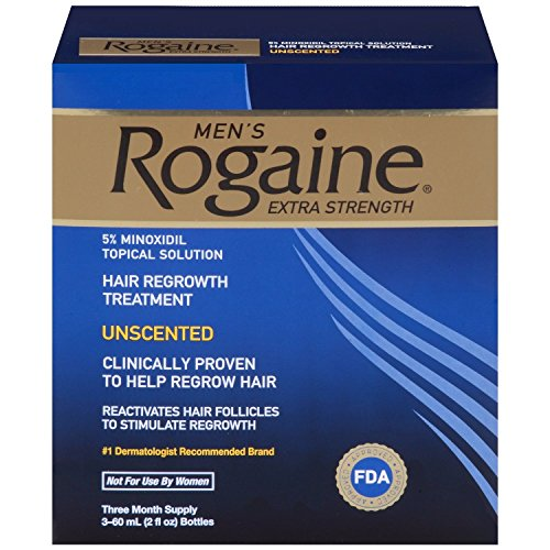 Rogaine Mens Regrowth X-Strength 5 Percent Unscented 3-60ml (2fl oz) bottles by Rogaine