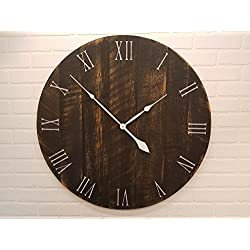 Wall Clock – 36 Inch Diameter – Black and Tan Wooden Clock by Yankee Woodworks