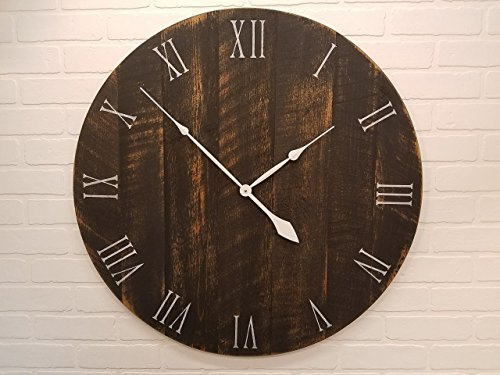 - Wall Clock - 36 Inch Diameter - Black and Tan Wooden Clock by Yankee Woodworks