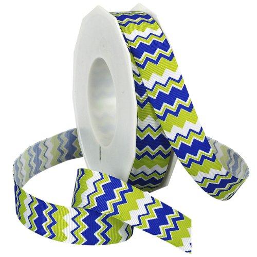 Morex Ribbon Chevron Printed Grosgrain Ribbon, 7/8-Inch by 20-Yard Spool, Electric Blue/Citrus - Blue Ribbon Grosgrain Electric