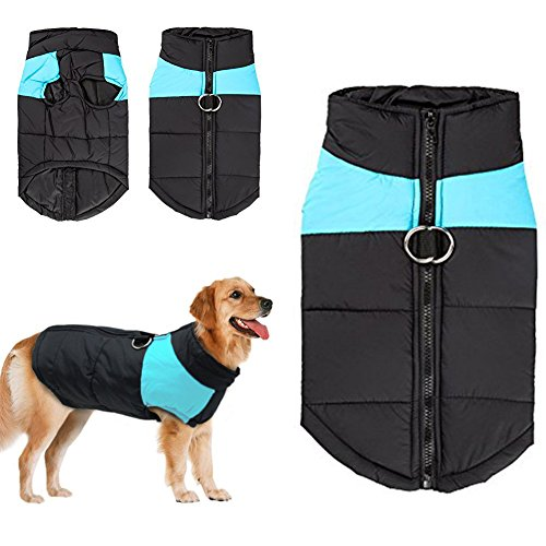 Dog Winter Coat Vest, Waterproof Clothes Jacket Fleece Warm Lined Breastplate Puffer Dog Puppy Clothes Vest for Autumn Winter (S (Back:10.13inch Chest 13.17inch), Blue)