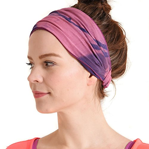 (Womens Bandana Headband Headwrap - Mens Hippie Hair Band Japanese Boho Hand Dye Dread Wrap Purple)