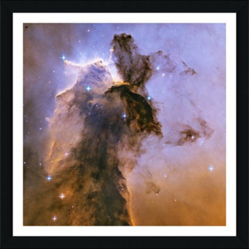 Pillars Framed Poster (Alonline Art - Pillars Of Creation Nasa Hubble Stars Space Galaxy Black FRAMED POSTER (Print on 100% Cotton CANVAS on foam board) - READY TO HANG | 23