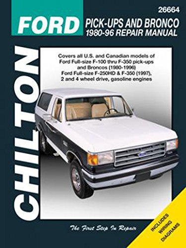 amazon com chilton ford trucks and bronco 1980 1996 repair manual rh amazon com 1980 ford courier repair manual Ford Factory Repair Manuals