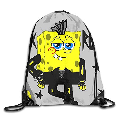 WSXEDC Drawstring Bag Punk Rocker Spongebob Durable Backpack for Yoga Sport Travel ()