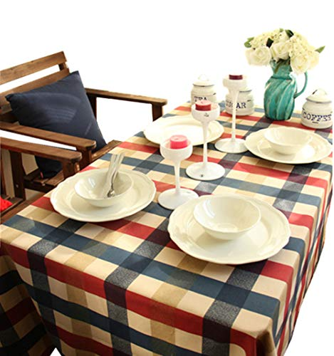 Kingmerlina Cotton Linen Rectangle Vintage Checked Tablecloth Picnic Cloth Polyester Multi Size -