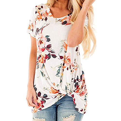 Blouse Shirts Floral Print Short Sleeve O Neck Ruched Twist Tops Loose Casual Summer Casual Floral Printing Knot T-Shirt Short Sleeve Tops Blouse Women (M,9- White)]()