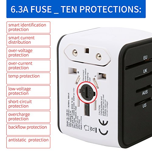 Travel Phone Charger Universal Travel Adapter - Multi Plug Converter World Outlet Adapter - 4 USB Andriod Wall Charger for US UK AU EU JP Laptop iPhone etc (White) by ASKALI (Image #7)