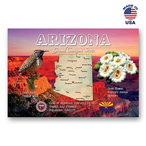 ARIZONA MAP postcard set of 20 identical postcards. AZ state map post cards. Made in USA.