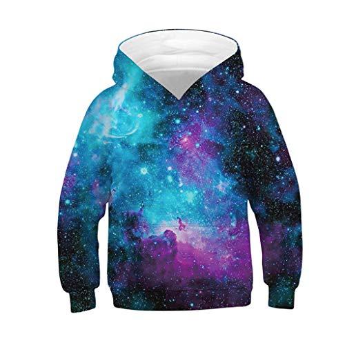 Wenini Teen Kids Boys Girls Galaxy Fleece Sweatshirts Pocket Pullover Hoodies 4-13Y (12-13 Years, Multicolor 7)
