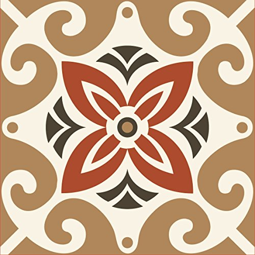 Tiva Design Art Removable Square Ethnic Tile Decals Vinyl DIY Wall Stickers, Set of 12, Brown and White 1206