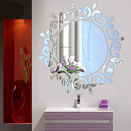 Wetietir 40x40cm Removable 3D Flower Mirror Wallpaper Acrylic Wall Sticker(Silver)
