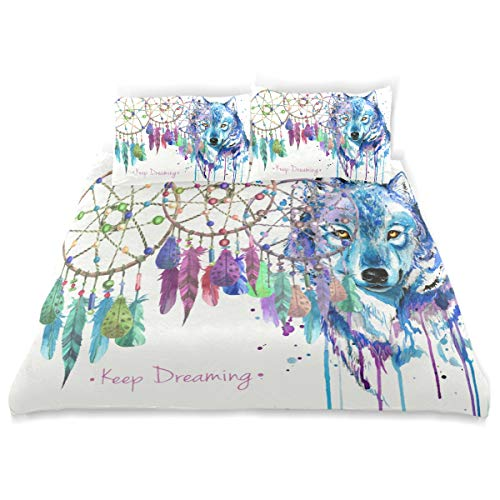 LvShen Watercolor Wolf Ethnic Dream Catcher Kids Bedding Sets Twin Size 3 Pieces Printed Sheets Bed Coverlet Duvet Cover Set with 2 Pillow Cases Shams for Teen Boys ()