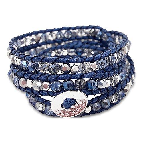 Beautiful Beaded Three Wrap Bracelet – Handmade 3 Wrap Bracelet – Triple Wrap Bracelet (Navy Blue)