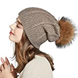 Winter Slouchy Beanie Real Fur Pompom Hats for Women Girls Knit Wool Ski Cap