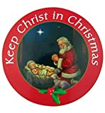 Keep Christ in Christmas Adoring Santa Auto Magnet Decal, 6 Inch