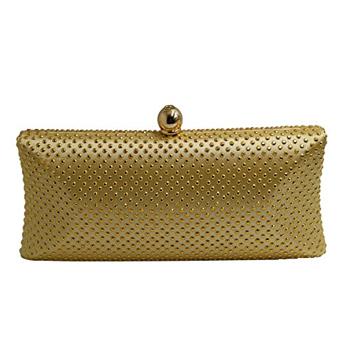 DOREE Womens Evening Clutch with Rhinestone and Crystal Evening Bag Gold by DOREE (Image #5)