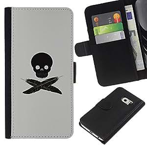 All Phone Most Case / Oferta Especial Cáscara Funda de cuero Monedero Cubierta de proteccion Caso / Wallet Case for Samsung Galaxy S6 EDGE // Minimalist Feather Skull Pirate Flag