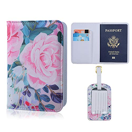 ONLVAN Leather Laggage Tag & Passport Cover Holder Case Set for Women & Men Travel Wallet Organizer (Set /Colorful_Flower) by ONLVAN