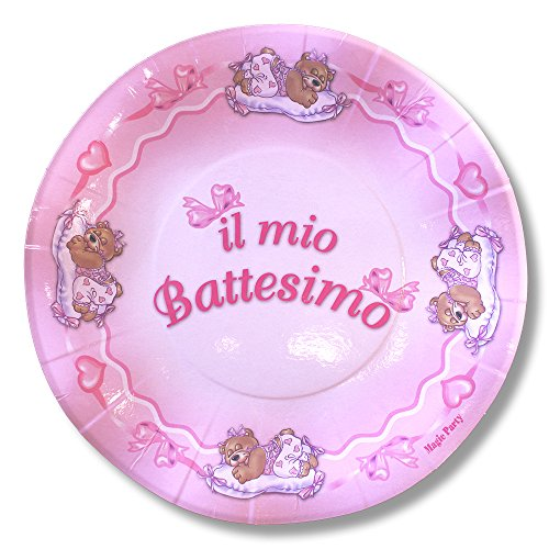 magic Party pep03–In Christening Paper Plate Diameter 21cm, Pack of 10, Pink