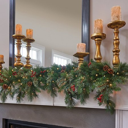 6 Ft LED Lighted Battery Operated Cascading Garland Christmas Holiday Decor (For Fireplace Garland Mantel)