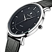 Amazon Lightning Deal 100% claimed: Tonnier Super slim Quartz Casual Wristwatch Business Genuine Leather Analog Men's Watch