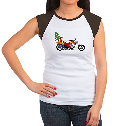 Brs Pipe Cap - Truly Teague Women's Cap Sleeve T-Shirt Holiday Biker Santa on his Motorcycle / Chopper - Brown/White, S (4-6)
