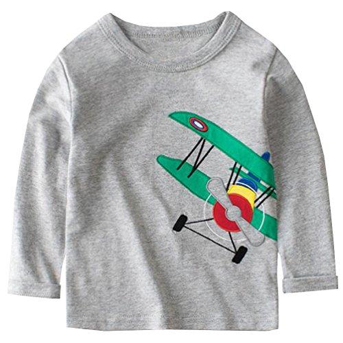 (Csbks Boy Long Sleeve T Shirt Cotton Crewneck Cartoon Tees Toddler 2-3 Years Gray)