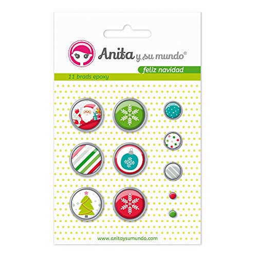 Anita y Su Mundo 37050126 - Pack of 11 Brads, Epoxy Happy Christmas Design