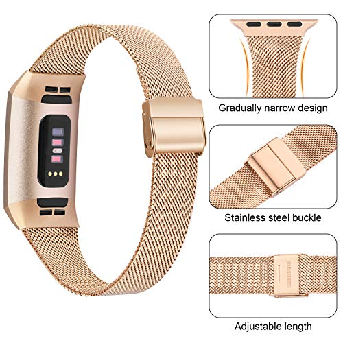 """Meliya Metal Slim Bands Compatible for Fitbit Charge 4 / Fitbit Charge 3 / Charge 3 SE, Stainless Steel Metal Clasp Thin Replacement Charge 3 Bands for Women Men (for 4.7""""-7.1"""" Wrists, Rose Gold)"""