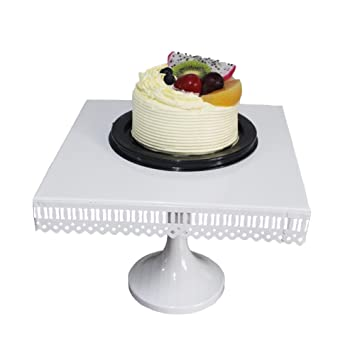 Dessert Stand Botitu 12 inch Square Cake plate with Steel Pedestal for Wedding Cupcake Display  sc 1 st  Amazon.com & Amazon.com | Dessert Stand Botitu 12 inch Square Cake plate with ...