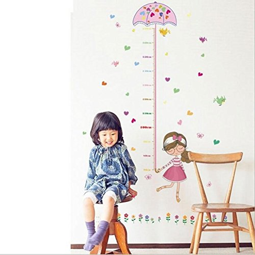 dSNAPoutof Kids Height Growth Chart Wall Art Cartoon Girl Bird Flower Sticker Decal