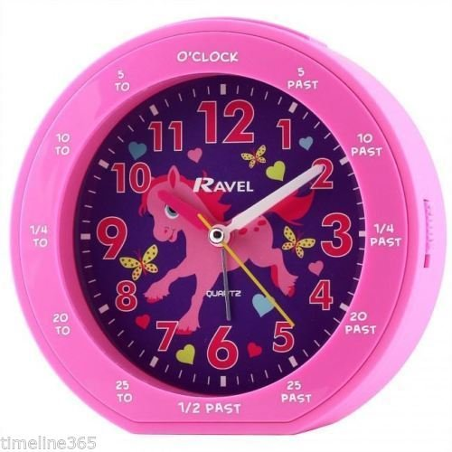 Ravel Childrens Girl's Time-Teacher Pony Horse Pink Quite Sweep Alarm Clock with Snooze