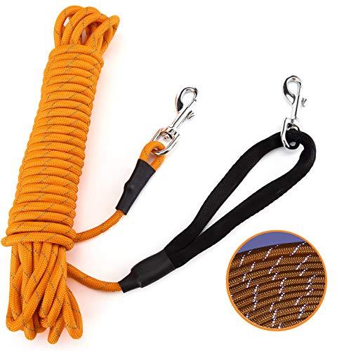 🥇 PETTOM Correa de Perro Cordón para Perros 5m 10m 15m Cordón de Cuerda de Entrenamiento Reflectante Cordón de Nailon-Naranja