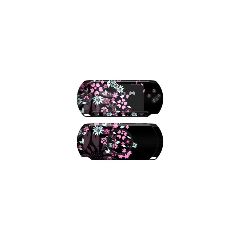Dark Flowers Design Protective Decal Skin Sticker for Sony PlayStation PSP Street E1004 Handheld Game Console Software