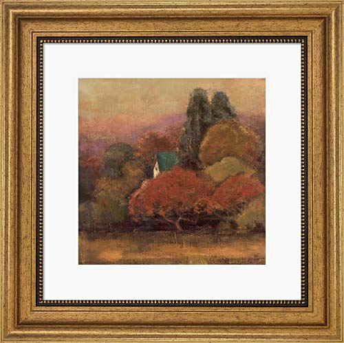 (Tuscan View I by Jillian David Design Framed Art Print Wall Picture, Wide Gold Frame, 16 x 16 inches)