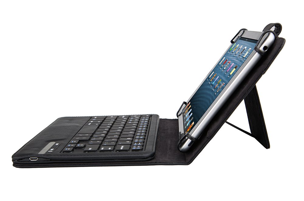 Nuvision TM800A510L (8-Inch) HD IPS Case with Keyboard - Tsmine Universal 2-in-1 Detachable Wireless Wireless Keyboard [QWERTY] w/Folio Leather Case Stand Cover [NOT include Tablet], Black