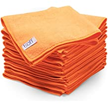 "Orange Microfiber Cleaning Cloths | Best Towels for Dusting, Scrubbing, Polishing, Absorbing | Large 16"" x 16"" Buff Pro Multi-Surface Microfiber Towel - 12 Pack"