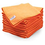 Orange Microfiber Cleaning Cloths | Best Towels for Dusting, Scrubbing, Polishing, Absorbing | Large 16″ x 16″ Buff Pro Multi-Surface Microfiber Towel – 12 Pack Reviews