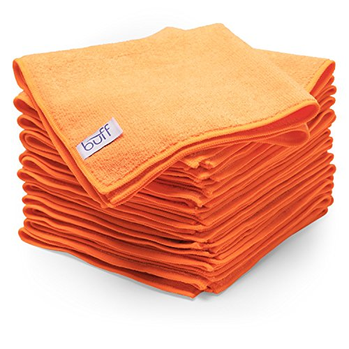 (Buff Microfiber Cleaning Cloth | Orange (12 Pack) | Size 16