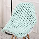 certainPL Hand-Made Chunky Knit Thick Cotton Blanket Bulky Knit, Extreme Knitting Knitted Dog Baby Bed Chair Sofa Mat Rug (Green, 23.6''x23.6'')