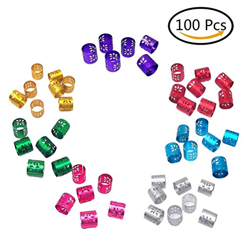 LIGONG 100 Pieces Mix Color Adjustable Hair Wig Dread Locks Cuffs Clip Braiding Dreadlocks Beads for Hairstyle,8 colors to choose from