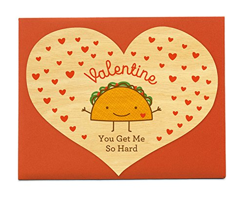 Night Owl Paper Goods Hard Taco Real Wood Valentine's Day Card