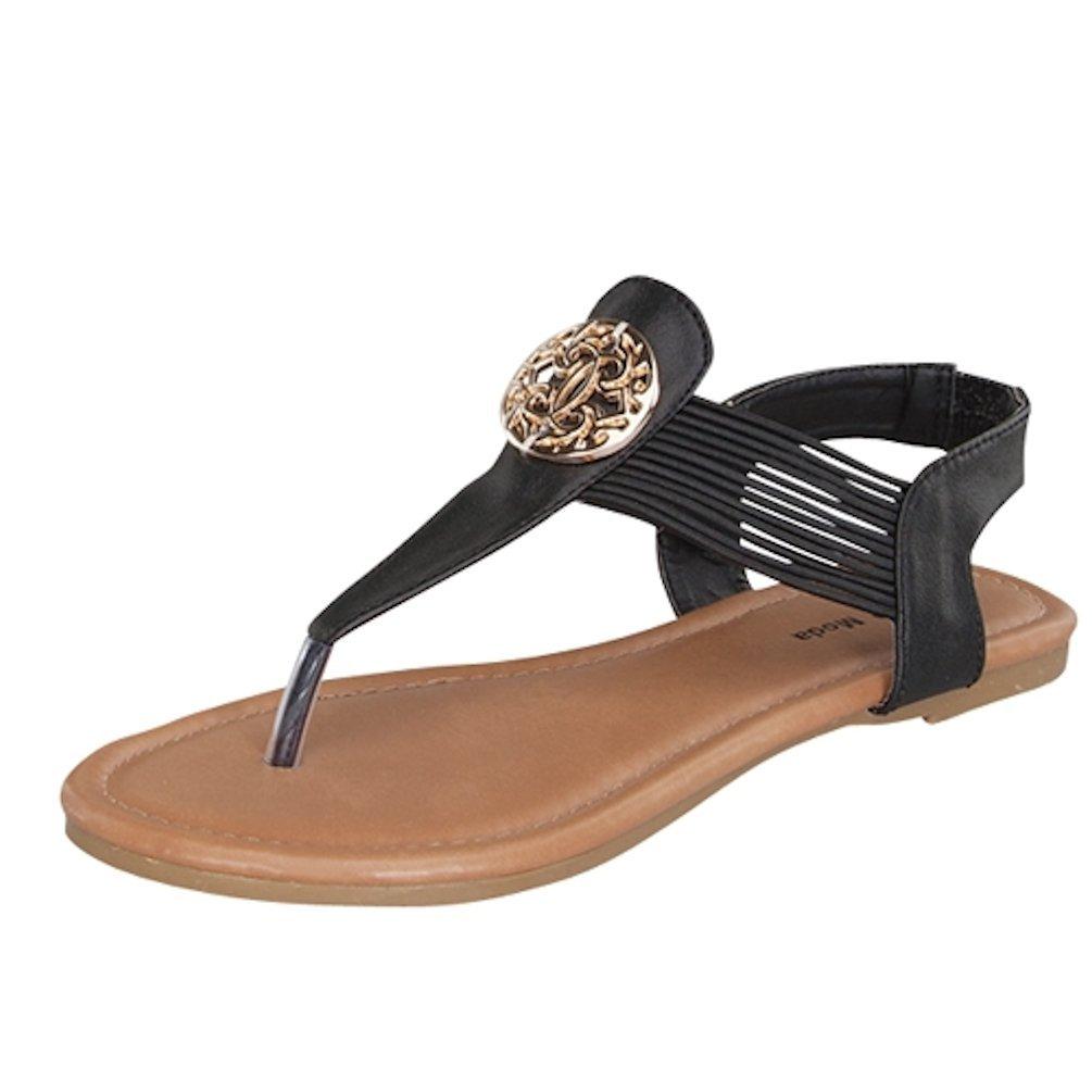 Lucky Top Girls Candy-43 Flat Sandal Thongs T-strap Easy Slip On Elastic Band (13, Black)
