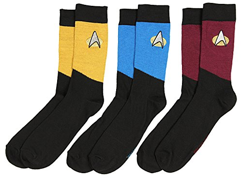 Star Trek The Next Generation Uniform Adult Crew Socks (3 Pack) -