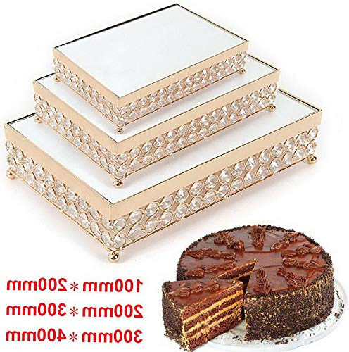 - Florance jones Mirror Cake Stand, Modern Rectangular Mirror Top Cake Holder Cupcake Stand Display Risers Dessert Tray Set for ding Decor, Gold (11.8