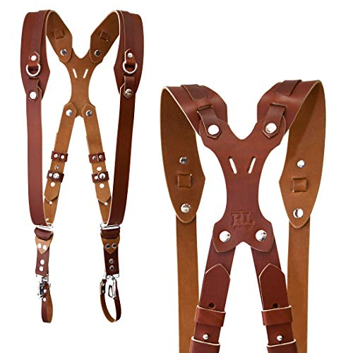 Clydesdale Pro-Dual Handmade Leather Camera Harness, Sling & Strap RL Handcrafts. DLSR, Mirrorless, Point & Shoot Made in The USA (Tan, Small)